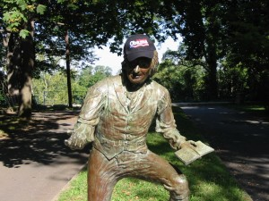 Statue of Thomas Paine wearing Obama for President hat
