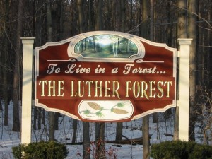 The Luther Forest sign