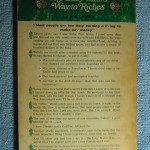 The back cover of The Lazy Man's Way to Riches. Double click the image to enlarge.